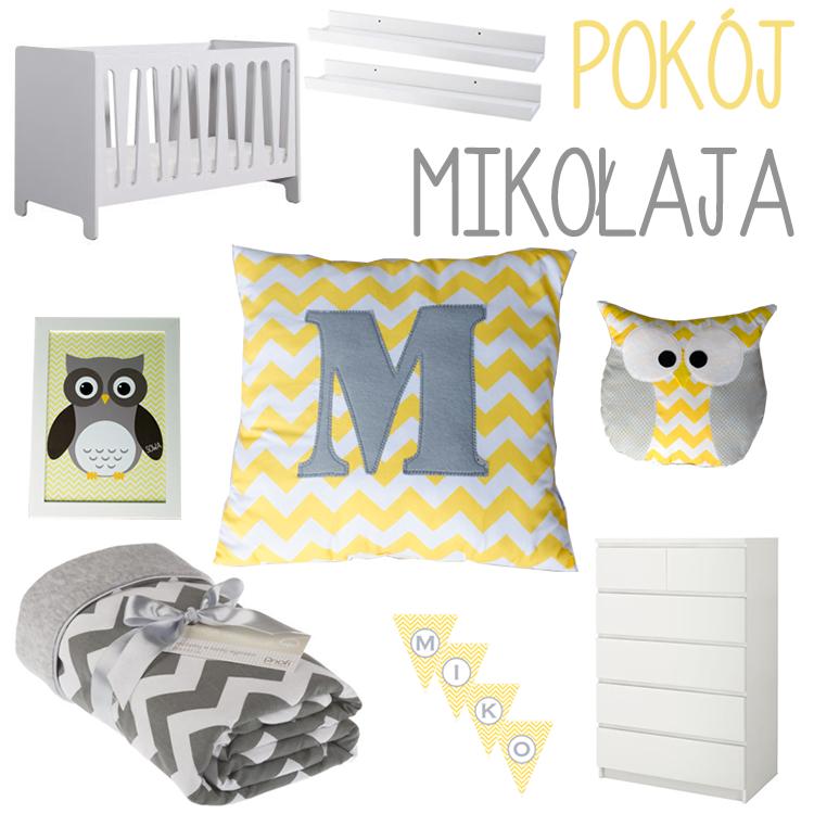pokój dla dziecka chevron żółty sowy łóżeczko kocyk poduszki
