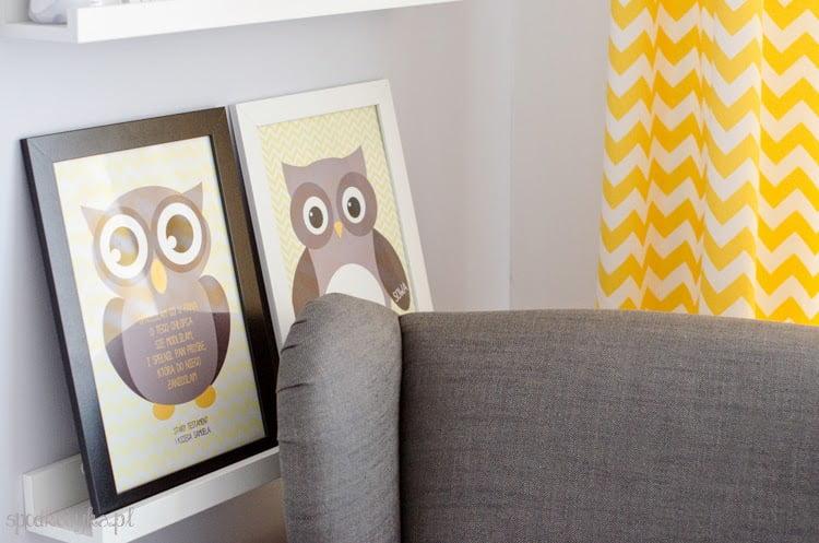 pokoik pokój dla dziecka dziecięcy ramki na obrazki NYTTJA sowy diy