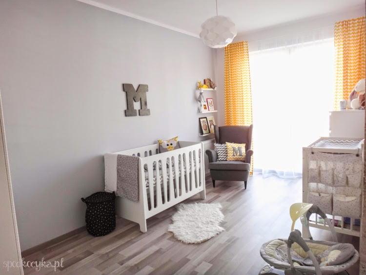 child room boy children's room white gray yellow zigzag chevron stars