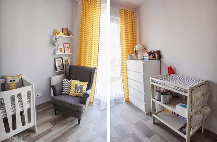 pokoik pokój dla dziecka dziecięcy chłopca biały szary żółty zygzak chevron gwiazdki fotel do karmienia STRANDMON IKEA szary