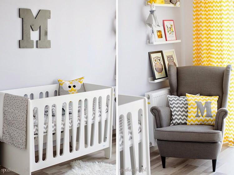 pokój dziecięcy dla dziecka żółty szary biały zygzak chevron sowa litera M