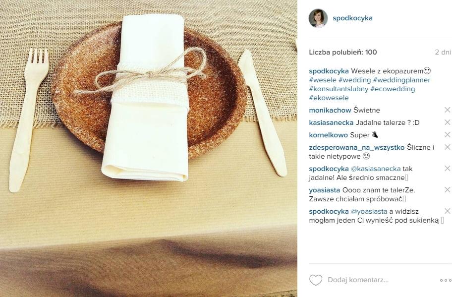 wesele ekologiczne jadalne talerze blog