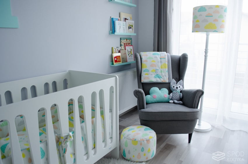 children's room clouds theme pastels