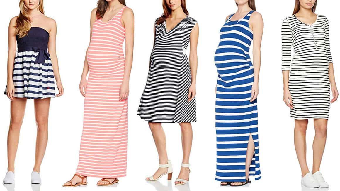 sukienki ciążowe w paski