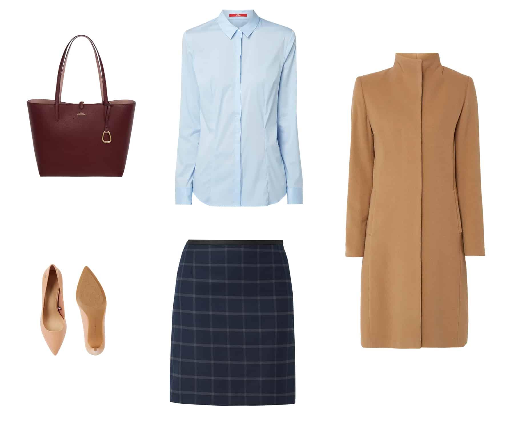 moda na jesień - brązowa torebka, niebieska koszula damska z krytymi guzikami, brązowy wełniany płaszcz camel zimowy z krytymi guzikami, beżowe szpilki, granatowa spódnica w kratę