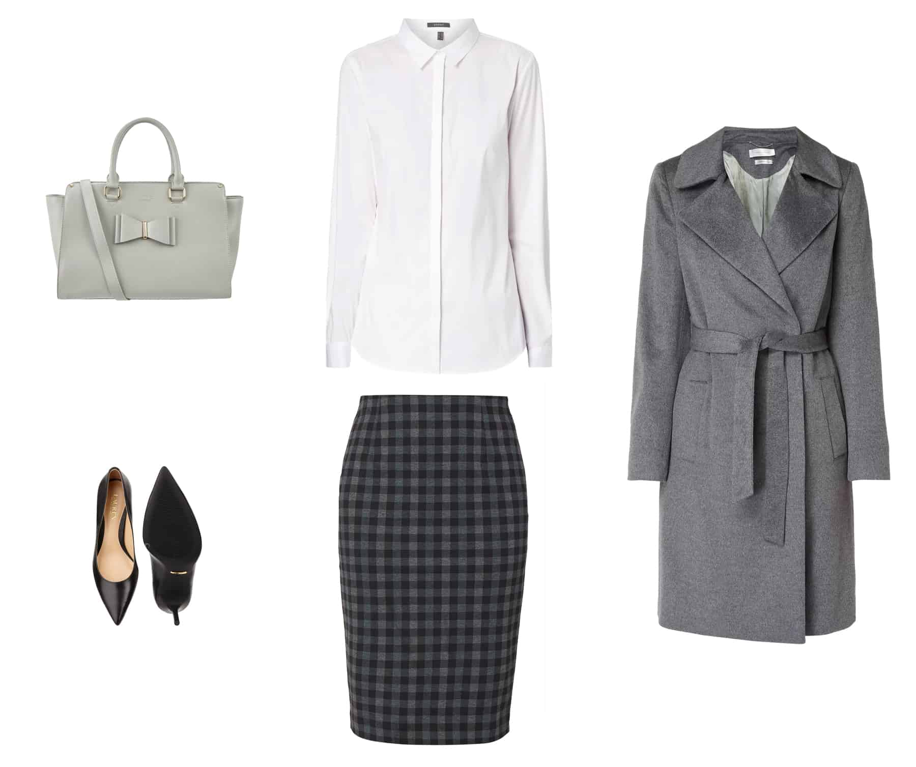 moda jesień - szary płaszczyk bez guzików, ołówkowa spódnica w kratke vichy, czarne czółenka szpilki, szara torebka