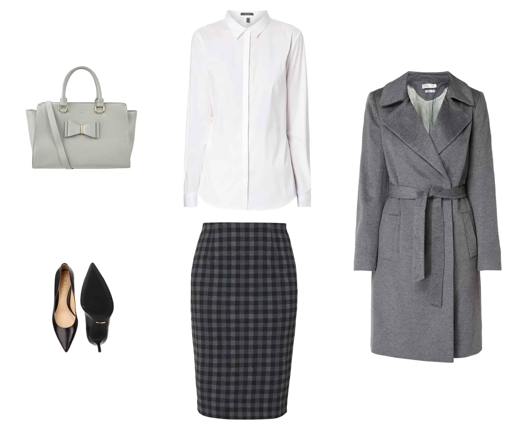 fall fashion - gray buttoned coat, checkered pencil skirt vichy, black pumps, high heels, gray handbag