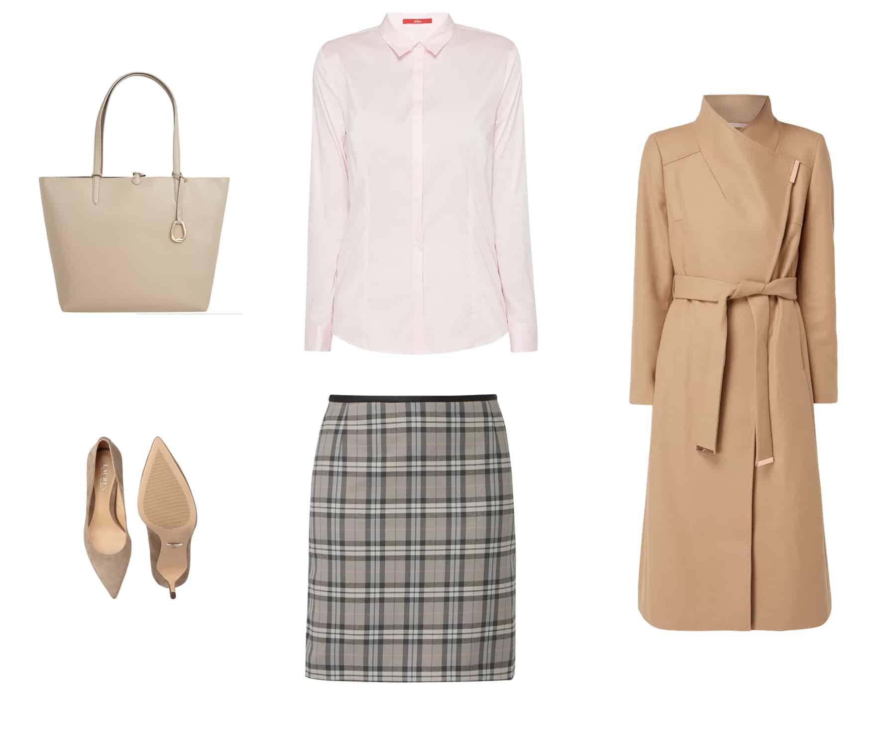moda jesień zima 2018 - beżowy płaszcz jesienny karmelowy, różowa koszula damska z krytymi guzikami, spódnica ołówkowa w kratkę, beżowe czółenka zamszowe, beżowa torebka shoperka