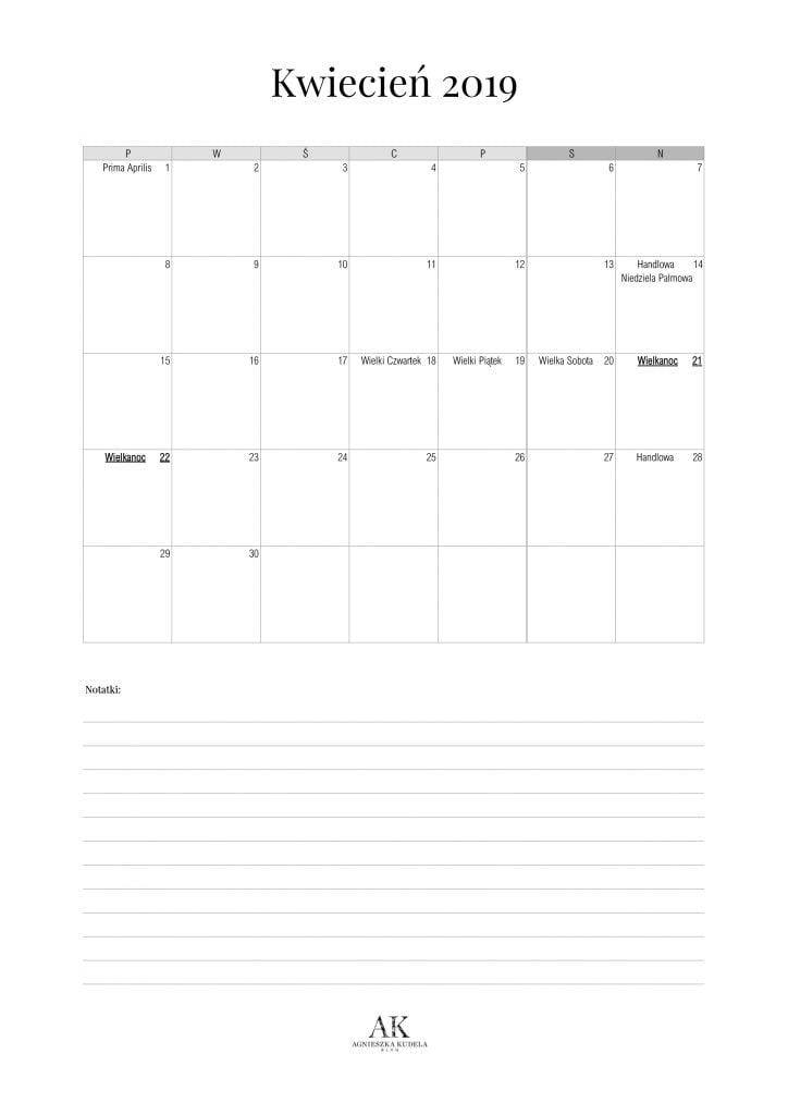 kalendarz 2019 do druku kwiecień