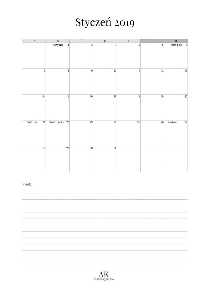 kalendarz 2019 do druku styczeń