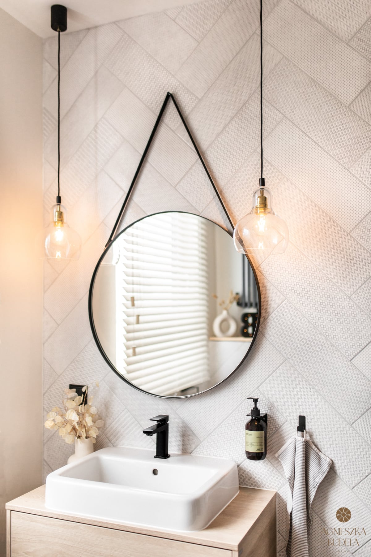 bathroom in a loft style with black accessories